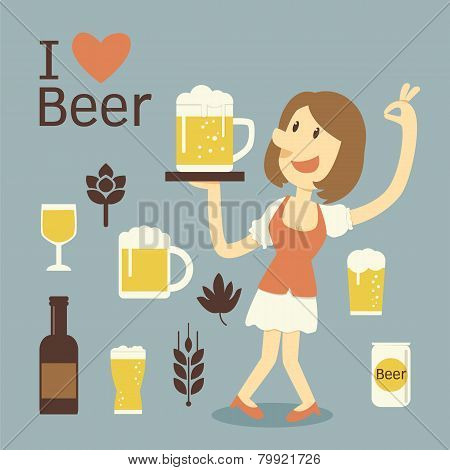 Girl Serving Beer