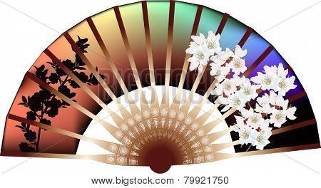 illustration with decorated fan on white background