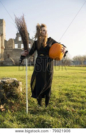 Witch With Pale Skin Hold Broom