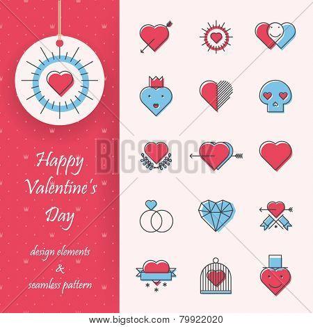 Design elements - Hearts - Vintage stamps