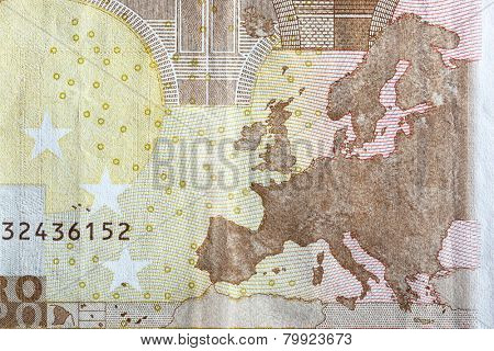 Map of Europe on the reverse of an Euro banknote. European currency