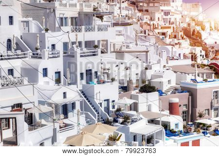 Fira town on Santorini island, Greece. Traditional and famous white houses architecture