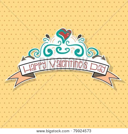 Happy Valentine's Day hand drawn doodles with polka dot background. EPS10 vector format