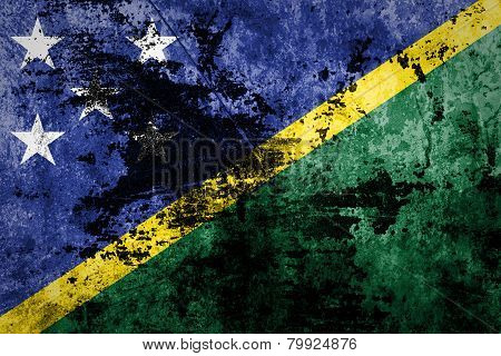 Solomon Islands Flag on dirty paper.