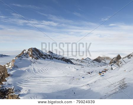 Beautiful Ski Slope In The Alps