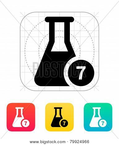 Flask with number icon. Vector illustration.
