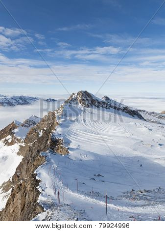 Ski Slope In The Snowy Alps