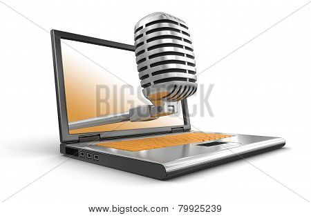 Laptop and Microphone (clipping path included)