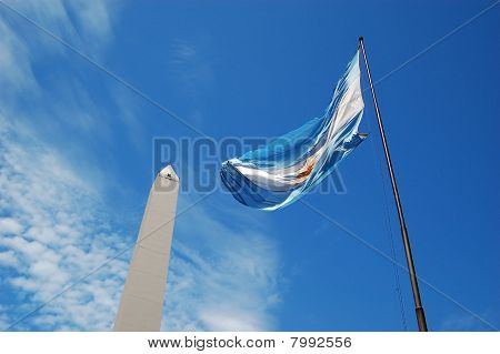 The Argentinian Flag and Obelisk with Clouds