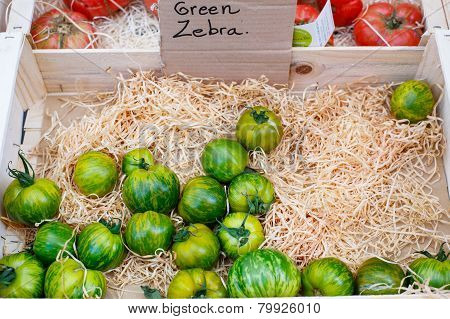 Organic Fresh Tomatoes From Mediterranean Farmers Market In Provence