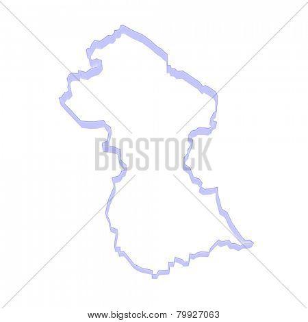 Map of Guyana. 3d