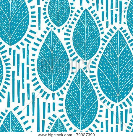 Seamless Retro Tree And Leaf Pattern