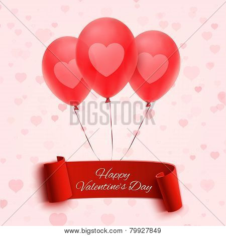 Happy Valentine's day banner with three balloons