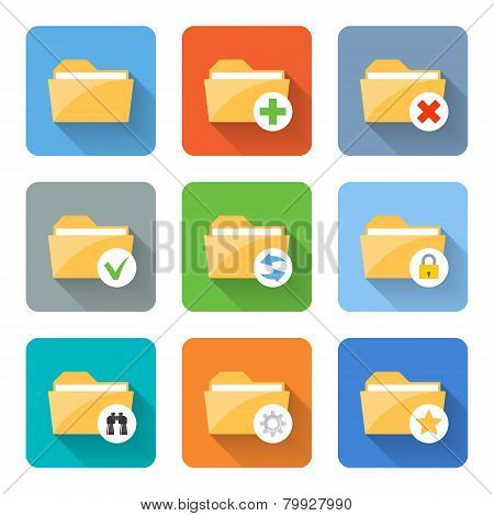 Flat Folder Icons. Vector Illustration