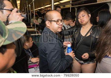 A Woman Without Pants On The Subway During The