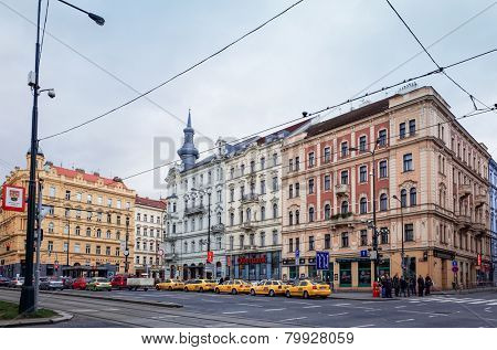 PRAGUE, CZECH REPUBLIC - DEC 23 : Beautiful street view of Traditional old buildings in Prague, Czech Republic. DEC 23, 2014 in PRAGUE