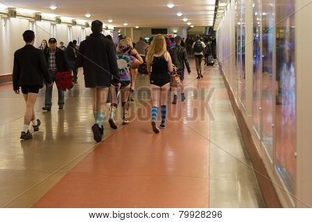 People Without Pants Arriving In Union Station During The