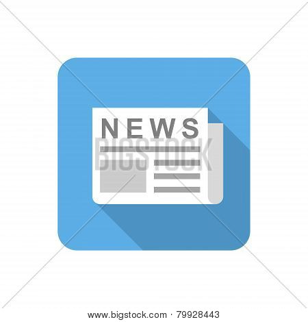 Flat Newspaper Icon. Vector Illustration