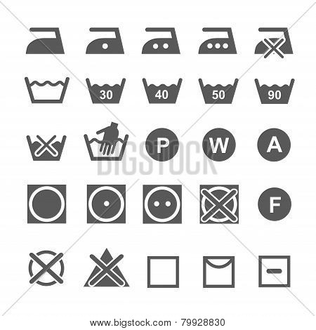 Set of washing symbols. Laundry icons isolated on white background