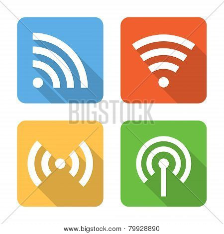 Flat Wireless Connection Icons. Vector Illustration