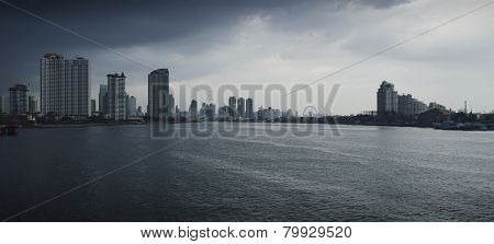 Chao Praya River With A Dark Stormy Sky