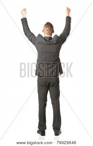 Businessman standing with fists up