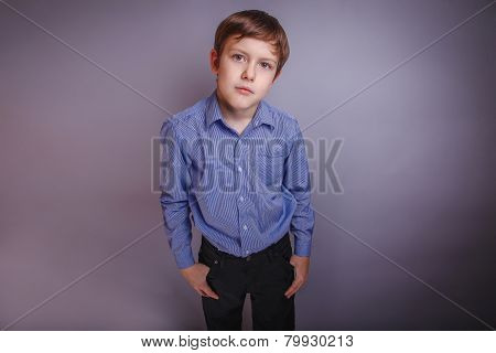 Portrait of boy adolescence European appearance Brown