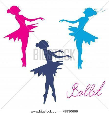 Ballerina silhouette set - posing girls