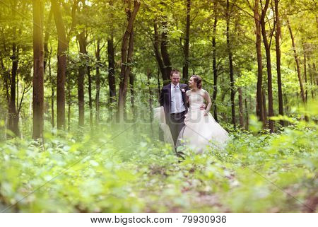 Wedding couple on a walk