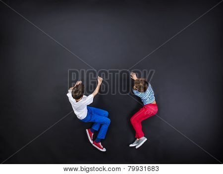 Boy and girl having fun together.