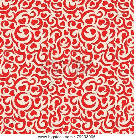 Romantic seamless pattern with red curls and hearts