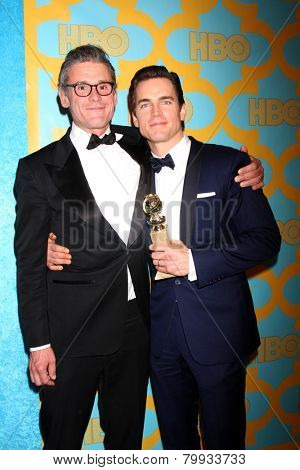 LOS ANGELES - JAN 11:  Simon Halls, Matt Bomer at the HBO Post Golden Globe Party at a Circa 55, Beverly Hilton Hotel on January 11, 2015 in Beverly Hills, CA