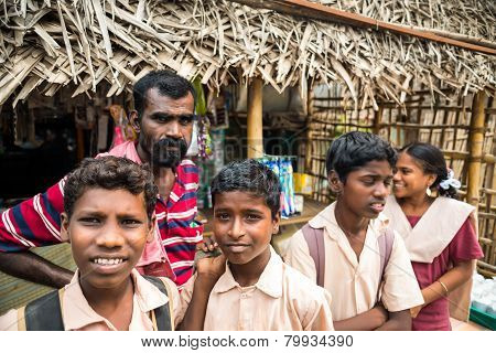 Thanjavur, India - February 13: An Unidentified School Children In Uniform Going Home After Classes