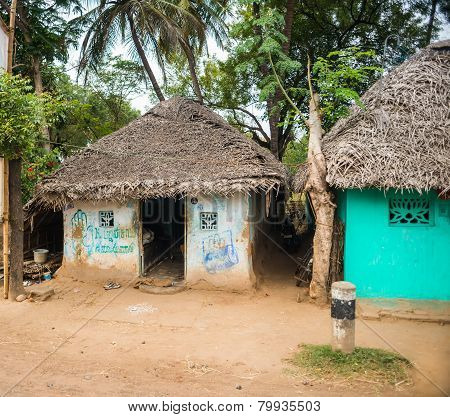 Thanjavour, India - February 13: Landscape Of The Village Houses With Thatched Roof, India, Tamil Na