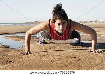Strong Woman Doing Pushups