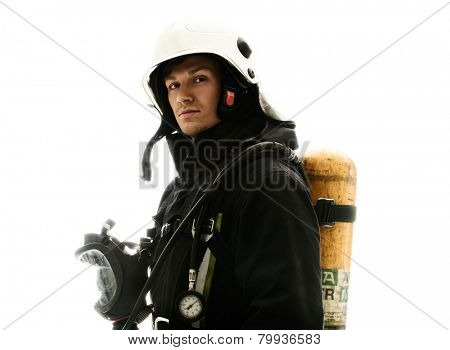 Firefighter with oxygen balloon isolated on white