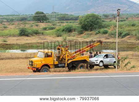 Trichy, India - February 15: After The Accident, The Car Raise Evacuate. India, Tamil Nadu, Near Tri