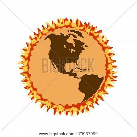 Arid Earth Surrounded By Ring Of Fire