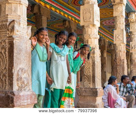 Madurai, India - February 16: An Unidentified Smiling Schoolgirl In Uniform Are Standing In Sri Meen