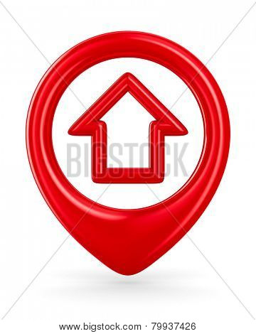 house traffic sign on white background. Isolated 3D image
