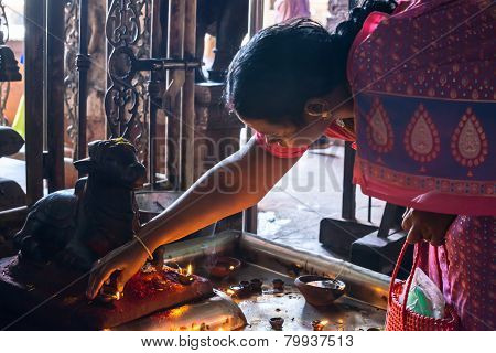 Madurai, India - February 16: An Unidentified Woman Commits Ritual Actions At Sri Meenakshi Amman Te