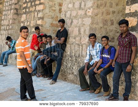 Madurai, India - February 16: An Unidentified Young Men Are Standing At The Walls Of The Ancient Tir