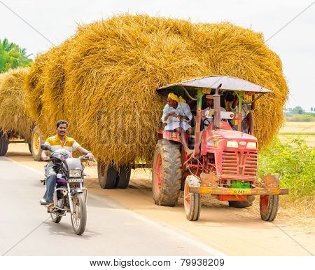 Thanjavour, India - February 13: An Unidentified Indian Rural Men Stopped At The Curb On A Car With