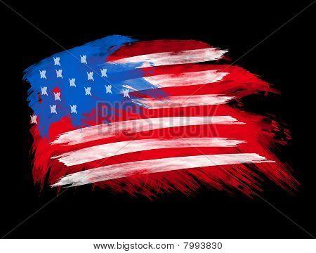 American Flag In Brush Strokes
