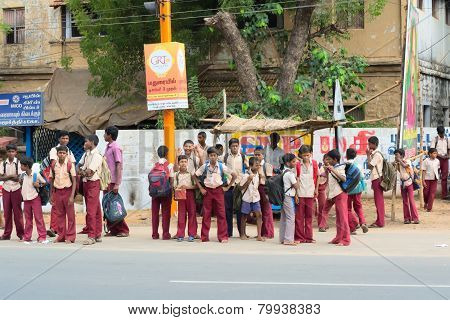 Madurai, India - February 15: An Unidentified Boys In School Uniform Are Standing At The Roadside. I