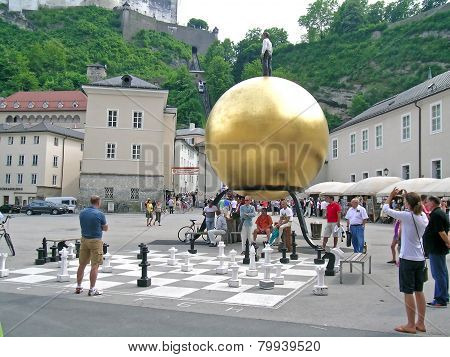 Chess game at Residenzplatz, Salzburg