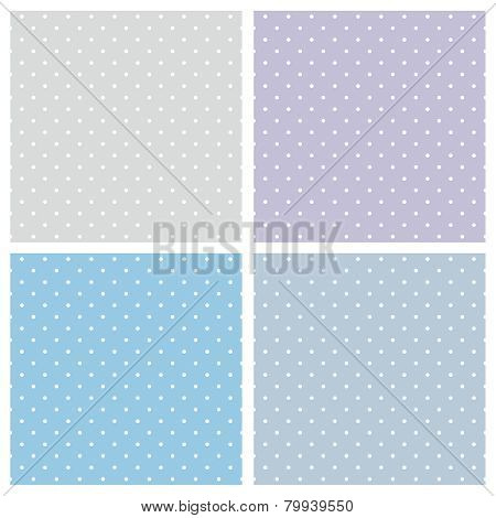 Blue background vector set. Seamless patterns or textures with white polka dots on blue background