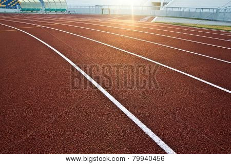 Running Racetrack Constructed From Red Rubber Cover