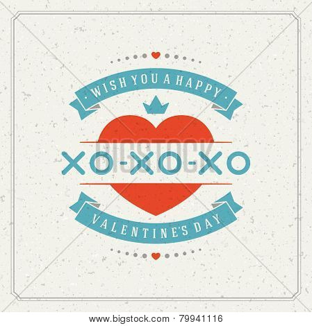 Happy Valentine's day Greeting Card or Invitation with Wishes, Vintage Vector Background
