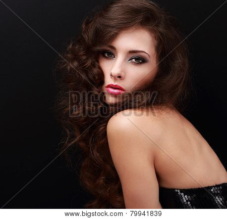 Beautiful Woman With Smokey Eyes Bright Makeup And Long Curly Hair